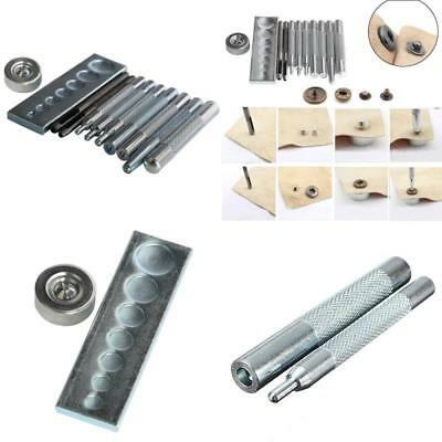 DIY Leathercraft 11 pieces Craft Tool Die Punch Snap Kit Rivet Setter with Base