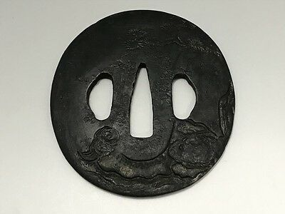 Japanese Antique Iron TSUBA samurai sword katana  design sea and pine tree