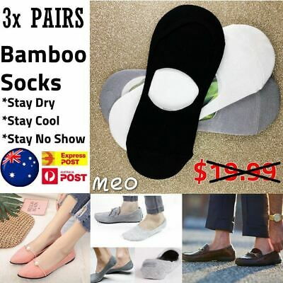 3Prs Men Mens Womens Hidden Socks Bamboo Loafer Non Slip Grip Low No Show 6-9