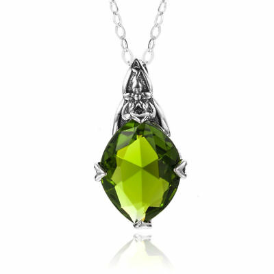 New Authentic Sterling Silver Pendant Chain Peridot Crystal Necklace Link Green