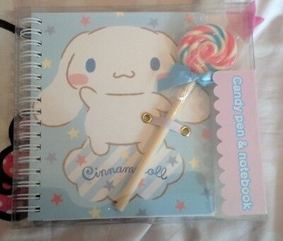 Cinnamonroll candy-shaped pen and notebook set: Lollipop Sanrio NIB Japan