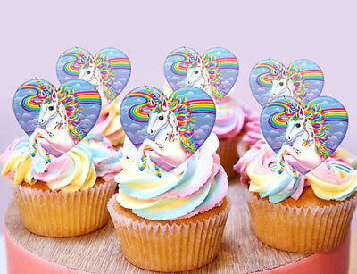 24 Mini Stand Up Unicorn Gold Horn Ears Fairy Edible Cupcake Cake Images Toppers