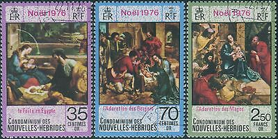 New Hebrides French 1976 SGF228-230 Christmas set FU