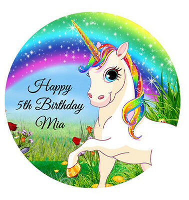 Rainbow Unicorn Personalised Premium Edible Wafer Cake Decoration Image Topper