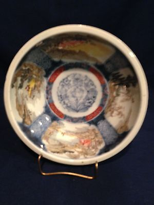 "Vintage Chinese Porcelain Hand Painted Scenes Bowl 8.5""  Signed Excellent -reduc"