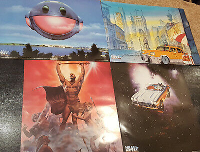 4 Different Heavy Metal Posters Lot - Corvette Spaceship Corben Den Taxi 1981