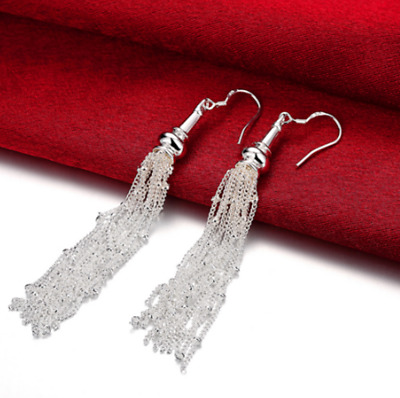 "Womens 925 Sterling Silver 3.4"" Long Tassel Drop Dangle Fashion Earrings #E100"
