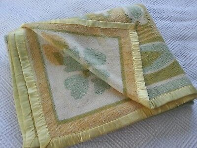 Vintage retro french funky floral green yellow orange reversible double blanket