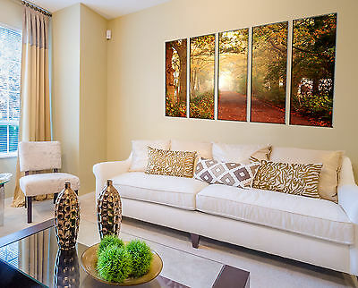 5 Piece Colorful Tree Light Canvas Wall Art Picture Print Home Decor for Bedroom