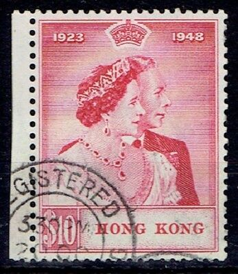 Hong Kong 1948 KGVI Silver Wedding $10 marginal very fine used