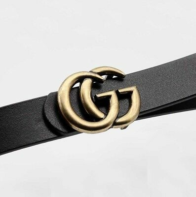 Womens Genuine Leather Thin Belts For Jeans 0.9″ Wide With Letter Buckle Black