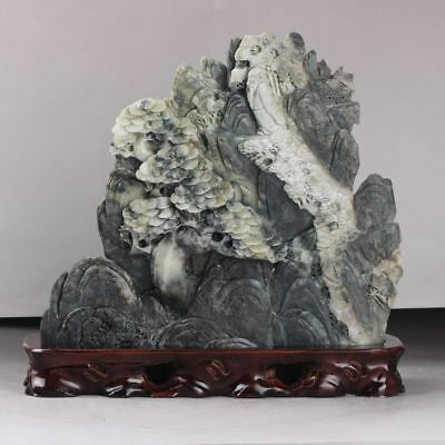 Exquisite 100% Natural DUSHAN Jade Hand Carved tree & Man Statue xd123