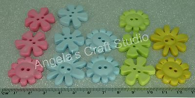 13 MEDIUM FUNKY PASTEL FLOWER NOVELTY Buttons - Hurry 1 Pack Only Available