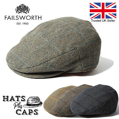 Failsworth Wool English Tweed Waterproof Country Flat Cap Shooting Fishing Hat