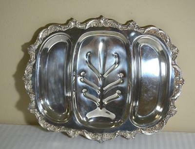 Vintage English POOLE Heavy EPCA Silverplate Ornate Baroque Meat Tray 3 Parts