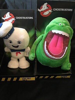 """New - 8.5"""" (22Cm) Ghostbusters Boxed Soft Toys - Slimer - Stay Puft - No Sound"""
