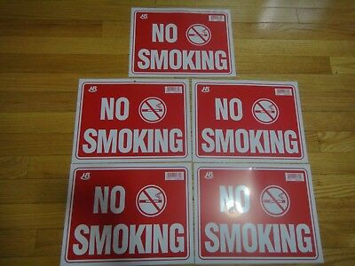 "5 Pcs Red & White Flexible Plastic "" NO SMOKING "" Sign 9 x 12 Inch S15 US Seller"