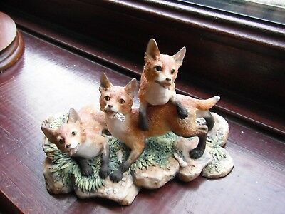 Border Fine Arts Hand Made Limited Edition Foxes Figurine 1982 Exc