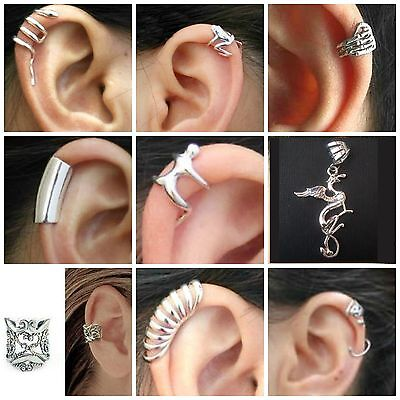 Clip On EAR CUFFS Snake Frog Hand Smooth Layered Man Griffin Filigree Gecko UK