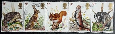 Great Britain 1977 'British Wildlife' SG1039/1043 Used Strip of Five Set