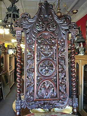 Exceptional Antique Victorian Renaissance Carved Face Oak French Chair #5 Nice