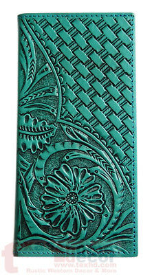 Western Bi Fold Turquoise Leather Wallet Woven Floral Hand Tooled Accents Rodeo