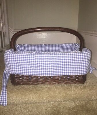 Pottery Barn Kids Sabrina Diaper Caddy & Blue Gingham Basket Liner