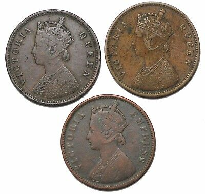 British India Queen Victoria group of 3 1/4 Anna KM#486 1875-b 1876-c 1877-c