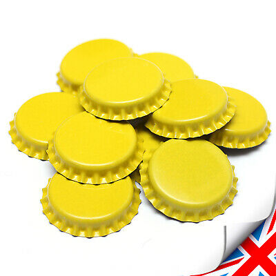 50 x YELLOW Crown Caps Capping 26mm Home Brew BOTTLING GLASS & PET - ᴓ 26mm UK