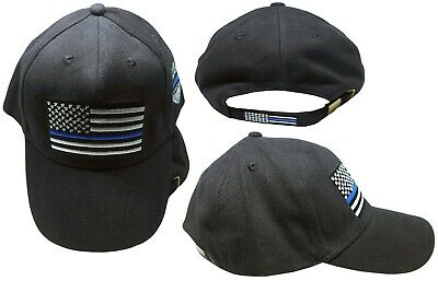 Thin Blue Line USA Police Memorial Ribbon Badge Fallen Black Officers Cap (EE)