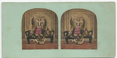 Stereo Stereoview Genre (Spanish Dancers) Musicians Theatre London 1850er