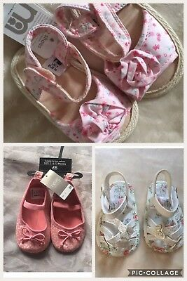 Brand New Baby Girls 3 Pairs Pram Pre-walker Crib Shoes Sandals Size 1 Size 2