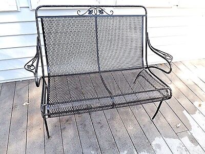 Vintage Wrought Iron Patio Outdoor Love Seat Saterini