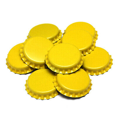 100 x YELLOW Crown Caps Capping 26mm Home Brew BOTTLING GLASS & PET - ᴓ 26mm UK