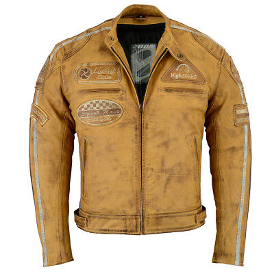 blouson veste en cuir moto homme vintage cafe racer leather jacket biker jacket eur 155 00. Black Bedroom Furniture Sets. Home Design Ideas