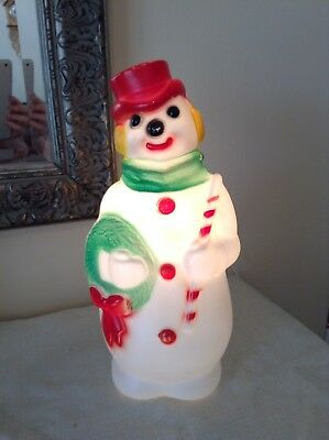 Vintage 1968 EMPIRE Plastic Blow Mold SNOWMAN Frosty Christmas Light Up 13 Tall