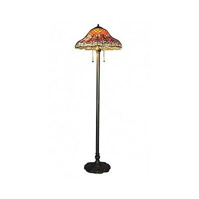 Tiffany Style Floor Lamp Stained Glass  Hand Cut Lighting Accent Reading Light