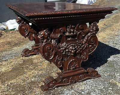 Carved Oak Griffin Library Table, Attr. R.j. Horner