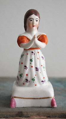 An Early c19th Antique Square Cushion Base Staffordshire Figure, Girl in Prayer
