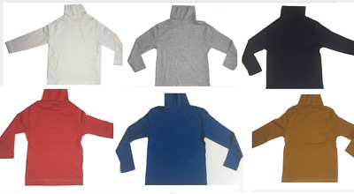 Kids Boys Girls Polo Neck Turtle Neck Tops 100%cotton Age 1 Year To 12 Years