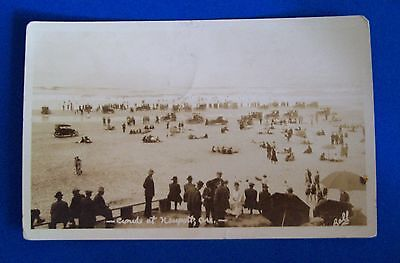 1924 RPPC CROWDS AT NEWPORT OR Photo by Ball Old Cars and People on Beach