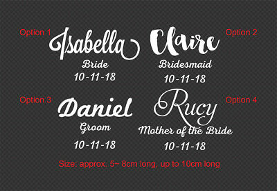 1 x Custom Name Title Date Wedding Wine Glass Decal Sticker Bridal Party Gift