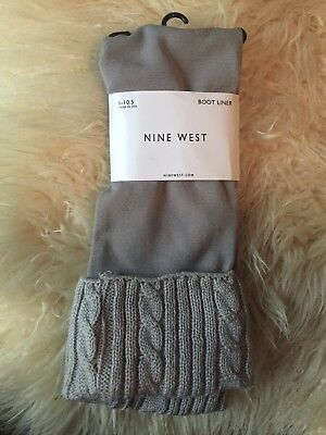 NWT Nine West Boot Liners Cuffs Toppers Socks Women's Size 6-10.5 Khaki Knit