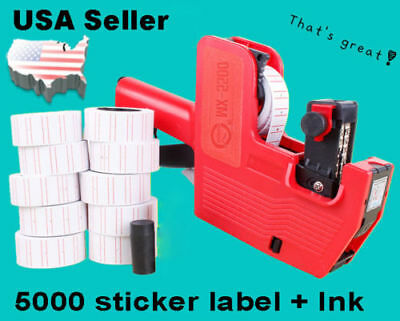 MX-5500 8 Digits EOS Price Tag Gun +5000 White w/ Red lines sticker labels + Ink