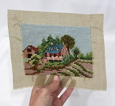 "VTG Farmhouse Needlepoint Country Cottage Small Petit Point Finished 6.25""x4.5"""