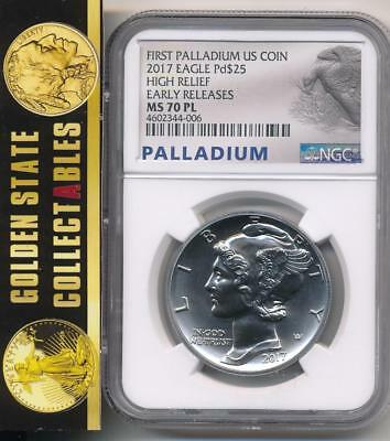 2017 $25 High Relief Palladium Eagle Ngc Ms70 Pl Proof Like Early Releases  ! !