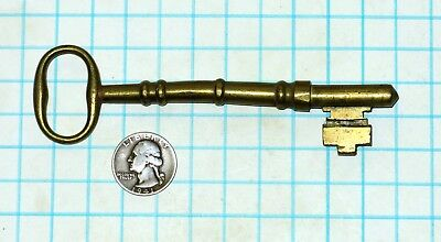 Real True Vtg Antique Old Ornate Long Solid Barrel Brass Door Lock Skeleton Key