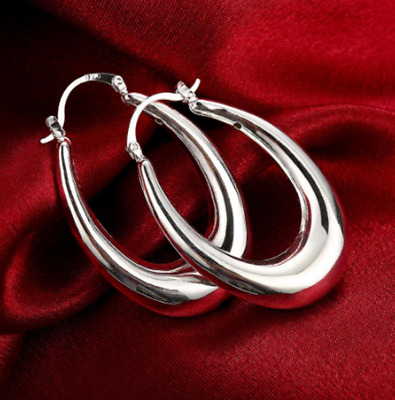 Womens 925 Sterling Silver Elegant U-Shaped 47mm Hoop Pierced Earrings #E108
