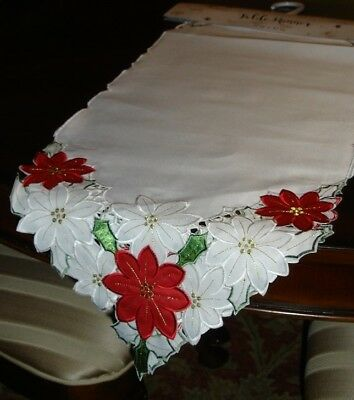 "Christmas Holiday Embroidered, Cut-Out Poinsettia Table Runner (36"" or 72"") NWT!"