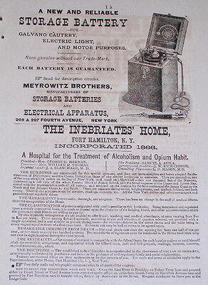1890 Medical Ad INEBRIATE'S HOME Alcoholism Opium Addiction FORT HAMILTON NY